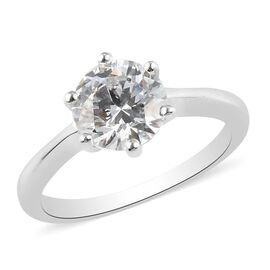MP Platinum Overlay Sterling Silver Soliatire Ring Made with SWAROVSKI ZIRCONIA 3.41 Ct.