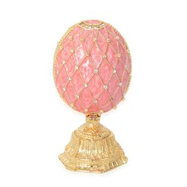 Decorative Egg with Stand Trinket Box (Size 4x9 Cm) - Pink and Golden Colour
