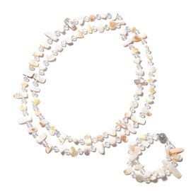 2 Piece Set - White Colour Beads and Natural Shell Colour Necklace (Size 46) and Bracelet (Size 7.50
