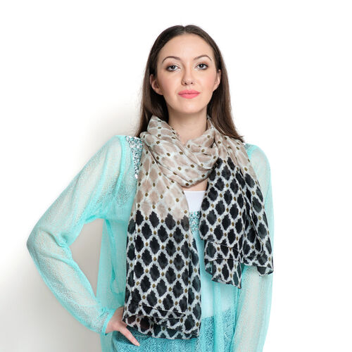 100% Mulberry Silk Chocolate and Black Colour Geometric Pattern White Colour Scarf (Size 180x100 Cm)