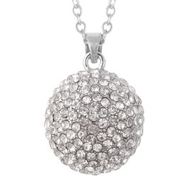 White Austrian Crystal Dome Pendant with Chain in Silver Tone 28 with 2 inch Extender
