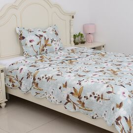 2 Piece Set  - Floral Pattern Quilt (Size 240x180 Cm) and Pillow Case (Size 50x70+5 Cm) Blue