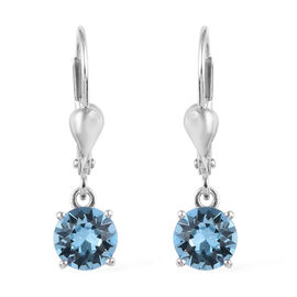 J Francis - Crystal from Swarovski Aquamarine Crystal (Rnd) Lever Back Earrings in Platinum Overlay