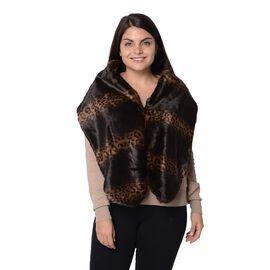 Leopard Pattern Faux Fur Winter Wrap (Size 27.5x150 Cm) - Black and Brown