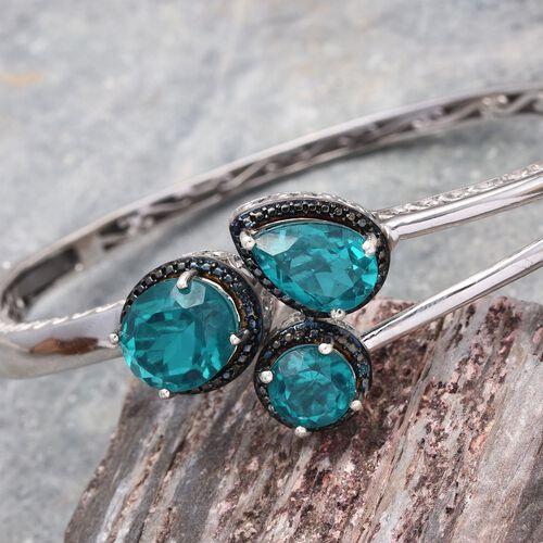 Capri Blue Quartz (Ovl 5.25 Ct), Blue Diamond Bangle (Size 7.5) in Platinum Overlay Sterling Silver 11.020 Ct.