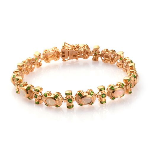 Ethiopian Welo Opal and Russian Diopside Enamelled Bracelet (Size 7.5) in 14K Gold Overlay Sterling