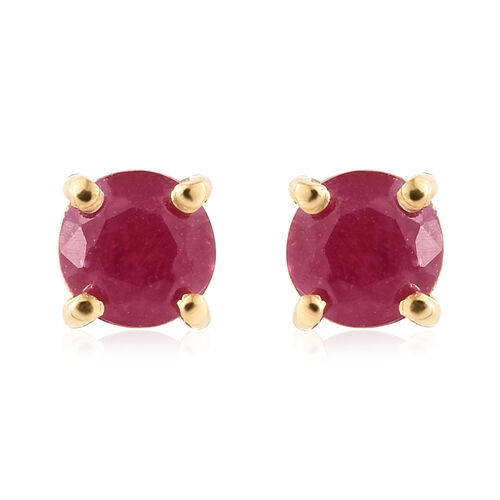 African Ruby (Rnd) Solitaire Pendant and Stud Earrings (with Push Back) in 14K Gold Overlay Sterling SIlver