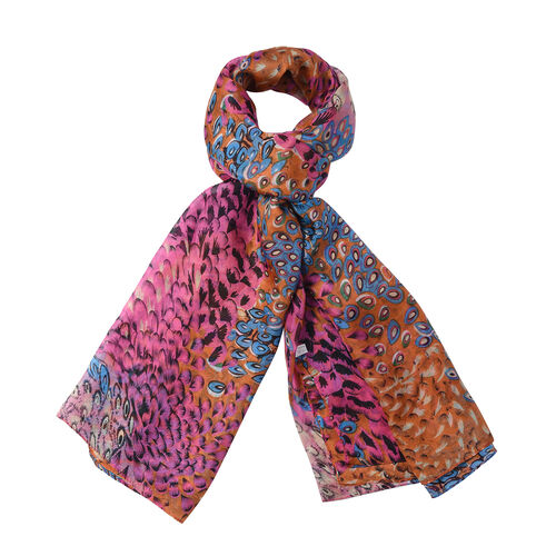 Close Out Deal- 100% Mulberry Silk Peacock Feather Pattern Scarf (Size 175x105 Cm) - Multi