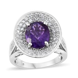 5.75 Ct Lusaka Amethyst and Zircon Halo Ring in Platinum Plated Silver 7.60 Grams
