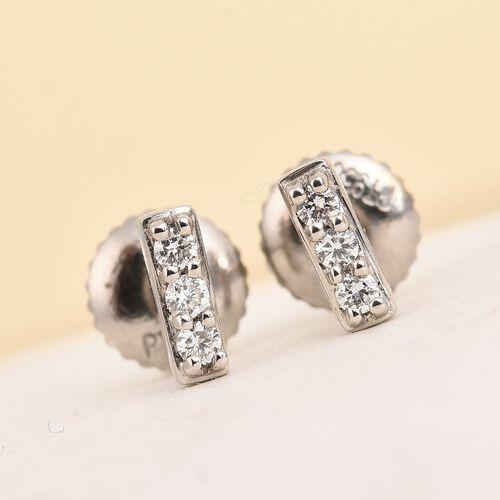 RHAPSODY 950 Platinum IGI Certified Natural Diamond (VS/E-F) Stud Earrings (with Screw Back) 0.10 Ct.