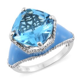 11.50 Ct Marambaia Topaz and Zircon Enameled Solitaire Design Ring in Platinum Plated Silver