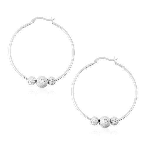 Rhodium Overlay Sterling Silver Bead Hoop Earrings