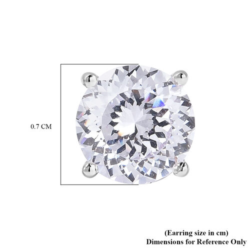 TJC Launch- AAAA Radiant Cut Simulated Diamond Stud Earrings (with Push Back) in Rhodium Overlay Sterling Silver