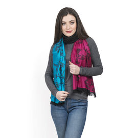 Blue, Pink and Black Colour Floral Pattern Scarf with Fringes (Size 180x65 Cm)