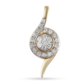 RACHEL GALLEY Embrace Collection - 9K Yellow Gold SGL Certified Diamond (I3/G-H) Pendant 0.20 Ct.