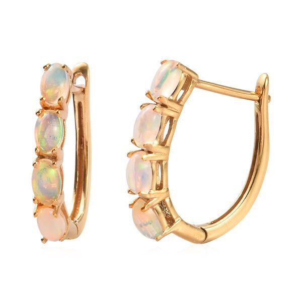 1.35 Ct Ethiopian Welo Opal Hoop Earrings in Gold Plated Sterling Silver