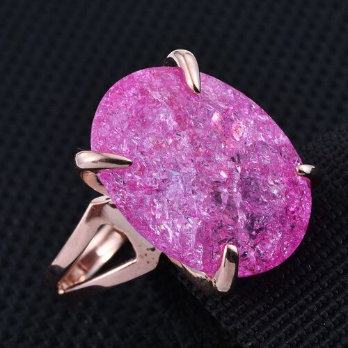 Hot Pink Crackled Quartz (Ovl) Ring in Rose Gold Overlay Sterling Silver 16.000 Ct.