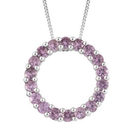 Pink Sapphire (Rnd) Circle Pendant with Chain (Size 20) in Platinum Overlay Sterling Silver 2.250 Ct