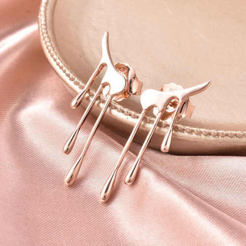 LucyQ Drip Collection Earrings (with Push Back) in Rose Gold Overlay Sterling Silver