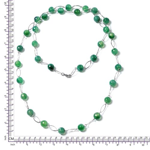 Designer Inspired- Faceted Green Agate (Round 11-13mm) Necklace (Size 44) in Silver Plated 330.000 Ct