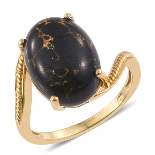 Arizona Mojave Black Turquoise (Ovl) Solitaire Ring in 14K Gold Overlay Sterling Silver 8.500 Ct., Silver wt 3.09 Gms.