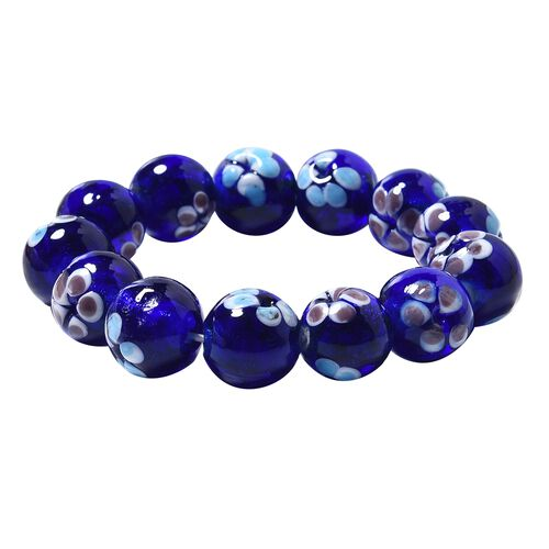 Millefiori Collection Navy Colour Murano Style Glass Stretchable Beaded Bracelet 7 Inch