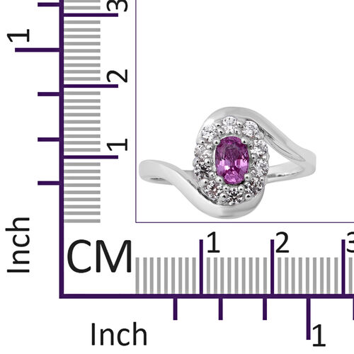 Pink Sapphire (Ovl), Natural White Cambodian Zircon Swirl Ring in Rhodium Overlay Sterling Silver 1.27 Ct.