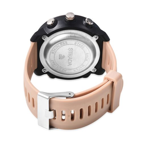 STRADA Japanese and Electronic Movement 5ATM Water Resistant Sports Watch in Stainless Steel with Khaki Silicone Strap