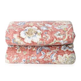 Double/King Size Chintz Print Sherpa Quilt (240x260 cm) in Red and Multi Colour