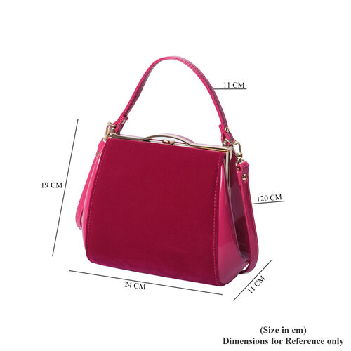 BOUTIQUE COLLECTION Fuchsia Satchel Bag with Detachable Shoulder Strap and Top Handle (Size 24x11x19 Cm)