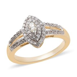 14K Yellow Gold SGL Certified Diamond (Rnd and Mrq) (I1-I2/G-H-I) Ring 0.33 Ct.