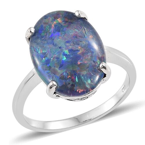Very Rare AAA Australian Boulder Opal (Ovl 18X13 mm) Solitaire Ring in Platinum Overlay Sterling Silver