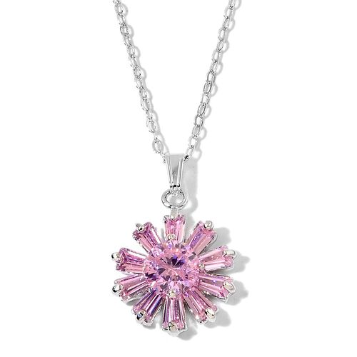 AAA Simulated Pink Sapphire Flower Pendant With Chain (Size 22) and Stud Earrings in Silver Tone