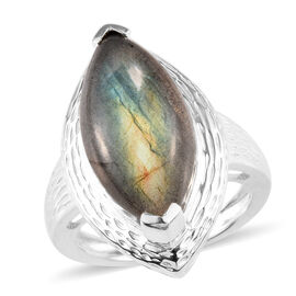 8.50 Ct Labradorite Solitaire Ring in Silver 5.49 Grams