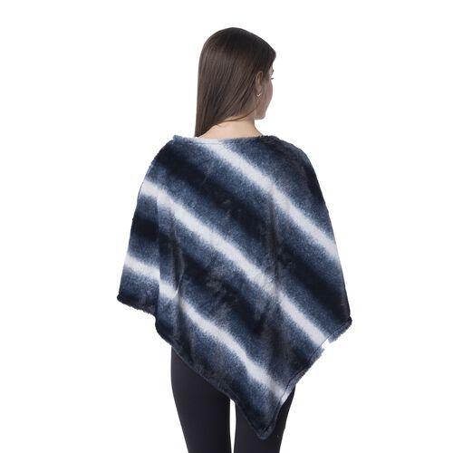 Black, Blue and White Colour Faux fur Poncho with Strip Pattern (Size 93x80 Cm)