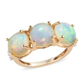 4.05 Ct AAA Ethiopian Welo Opal and Diamond Trilogy Ring in 14K Gold 2.39 Grams