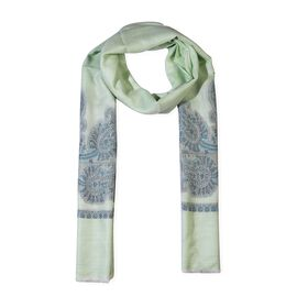 100% Cashmere Wool Paisley Design Scarf (Size 70x200 Cm) - Light Green