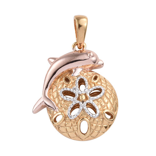 Platinum, Yellow and Rose Gold Overlay Sterling Silver Dolphin Pendant