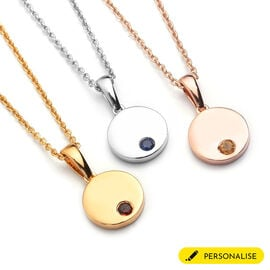 Personalised Engraved Mini Disc Zodiac Birthstone Necklace with Chain in Silver