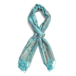 SILK MARK 100% Superfine Silk Jacquard Pattern Turquoise Colour Scarf (Size 70x180 Cm)