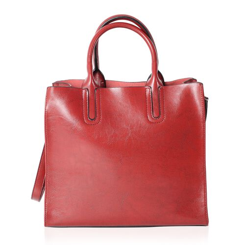 Close Out Deal - 100% Genuine Leather Red Colour Tote Bag with Removable Shoulder Strap (Size 32x28x13x12.5 Cm)