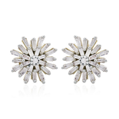 9K Yellow Gold SGL Certified (I3/G-H) Diamond (Rnd and Bgt) Stud Earrings (with Push Back) 0.500 Ct.