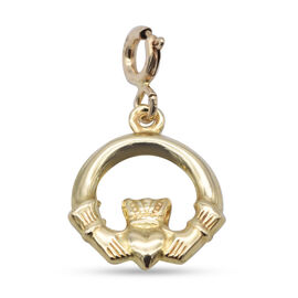9K Yellow Gold Claddagh Bolt Ring Charm Pendant