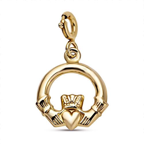 9K Yellow Gold Claddagh Bolt Ring Charm Pendant