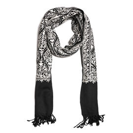 New Season-100% Merino Wool Black and White Colour Embroidered Shawl (Size 190x70 Cm)