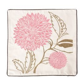 Limited Edition - Pink Chrysanthemum Flower Embroidery Cushion Cover (Size 43x43 Cm)