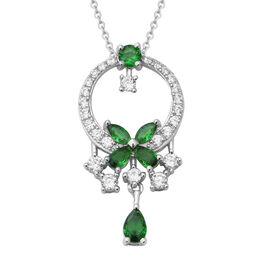 ELANZA Simulated Russian Diopside (Pear),Simulated Diamond Pendant With Chain (Size 18) in Rhodium O