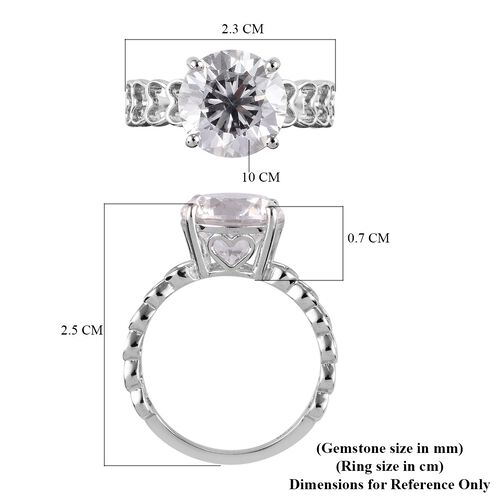 J Francis - Platinum Overlay Sterling Silver Solitaire Ring Made with SWAROVSKI ZIRCONIA 6.79 Ct.