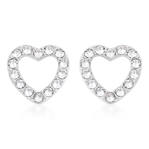 J Francis White Crystal from Swarovski Heart Stud Earrings in Rhodium Plated Sterling Silver