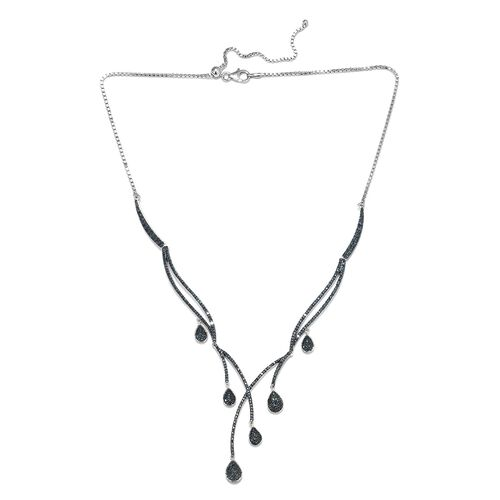 0.97 Ct Blue Diamond Multi Drop Adjustable Necklace in Platinum Plated Silver 21 Grams 20 Inch